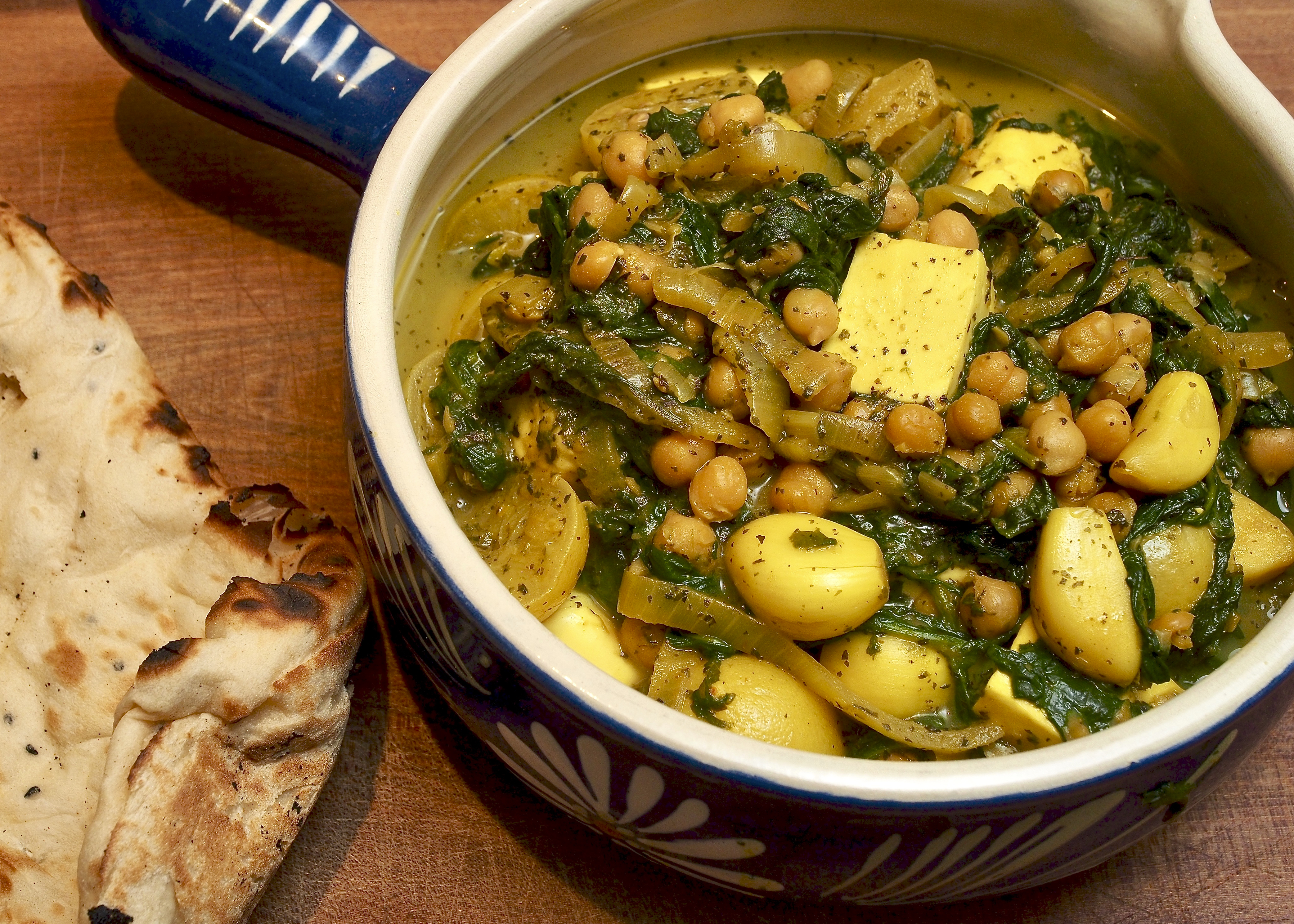 Chickpea, Paneer, Spinach, & Preserved Lemon Stew