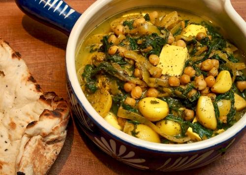 Chickpea, Paneer, Spinach, & Preserved Lemon Stew
