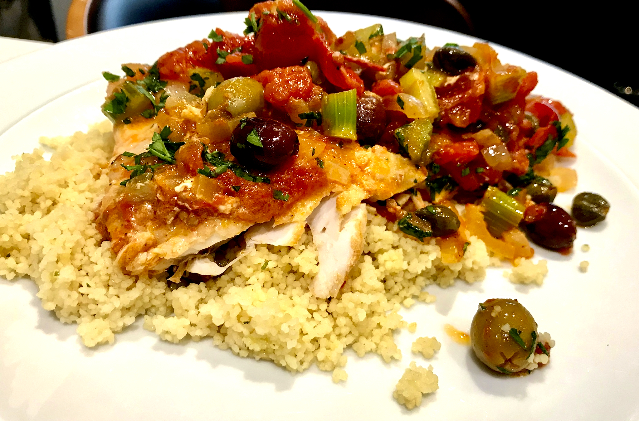 Fish in Spicy Tomato Sauce with Capers and Olives