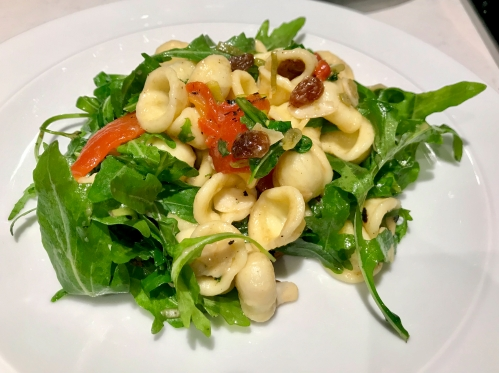 Orecchiette with Peppers, Raisins & Almonds
