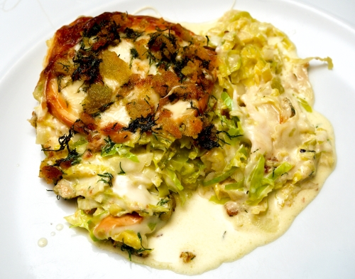 Brussel sprout & smoked cheese gratin