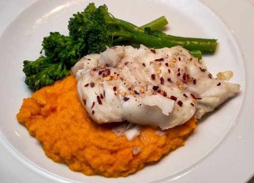 Carrot & Ginger mash with pan fried cod