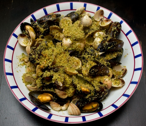 Mussels & cockles with garlic breadcrumbs