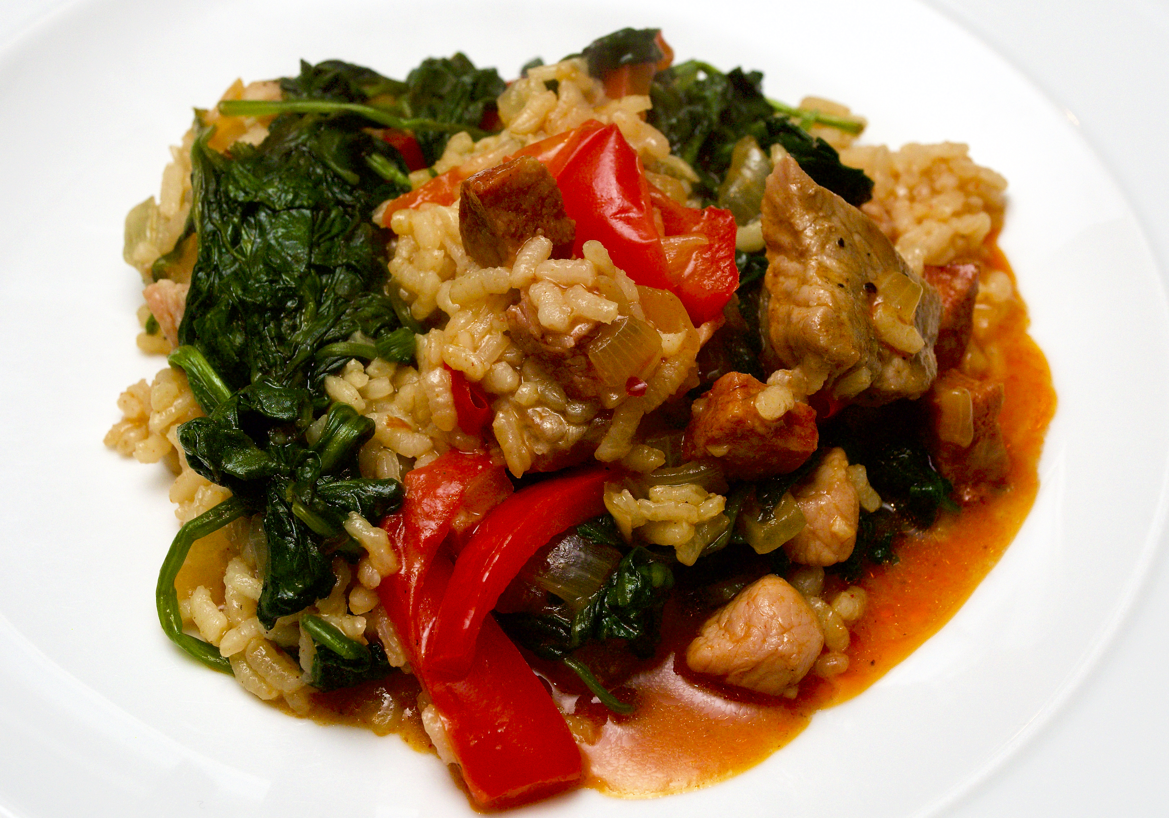 Spanish rice with pork & spinach
