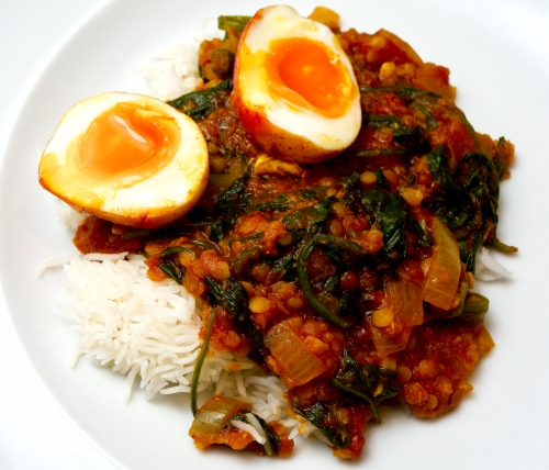 Spiced Crispy Egg & Lentil Curry
