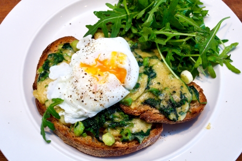 Spinach Rarebit with Poached Eggs