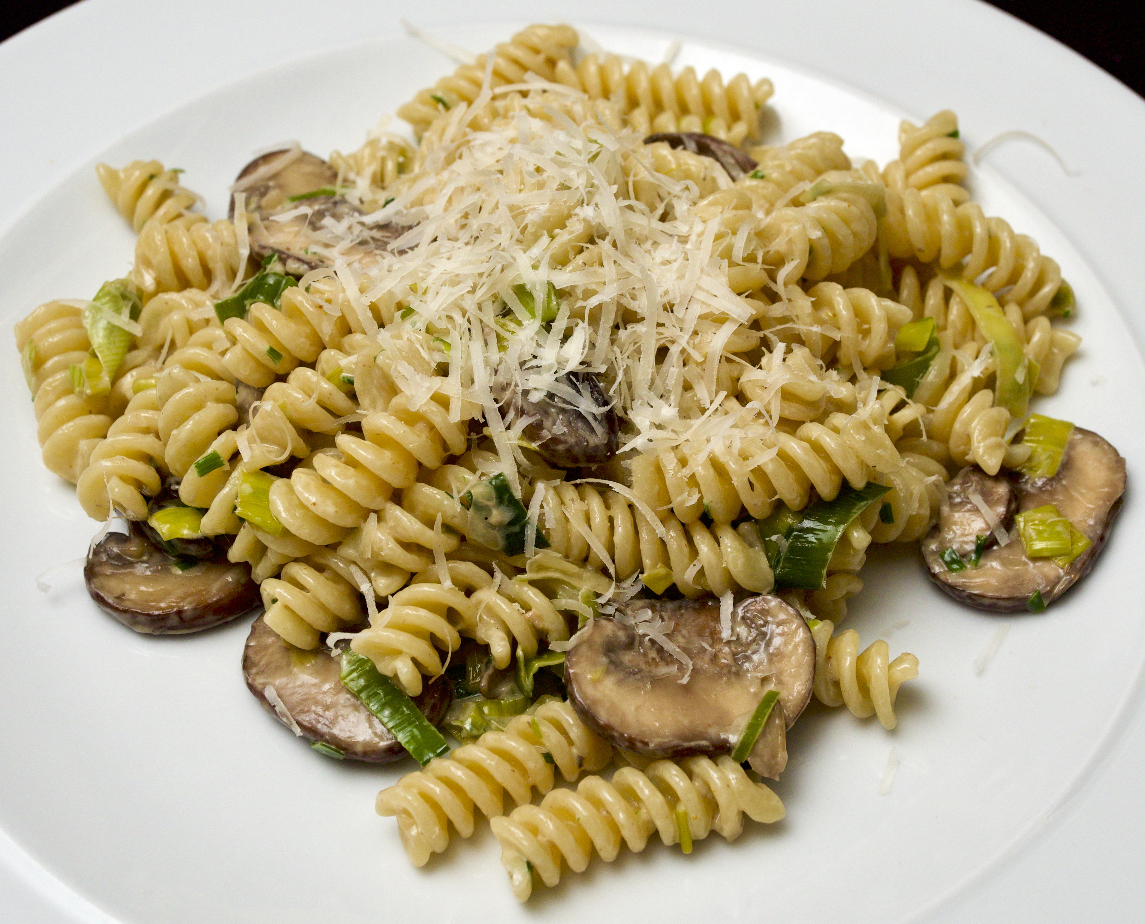 Fusilli with Chestnut Mushrooms, Leeks and Mascarpone Cheese
