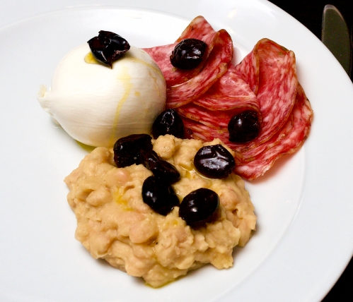 Mozzarella with salami, cannellini beans & olives