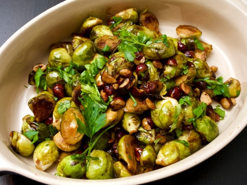Pan-fried sprouts with soy & hazelnuts