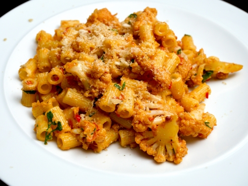 Ditali Pasta with Cauliflower, Saffron and Tomato Cream Sauce