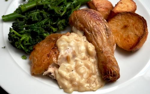 Roast chicken with a Breton sauce