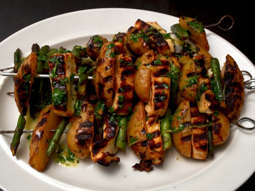 Harissa Potato, Halloumi & Asparagus with Coriander and Lemon Oil