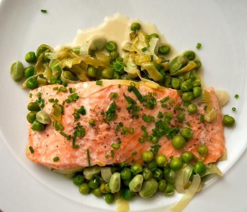 Salmon with Greens & Crème Fraîche
