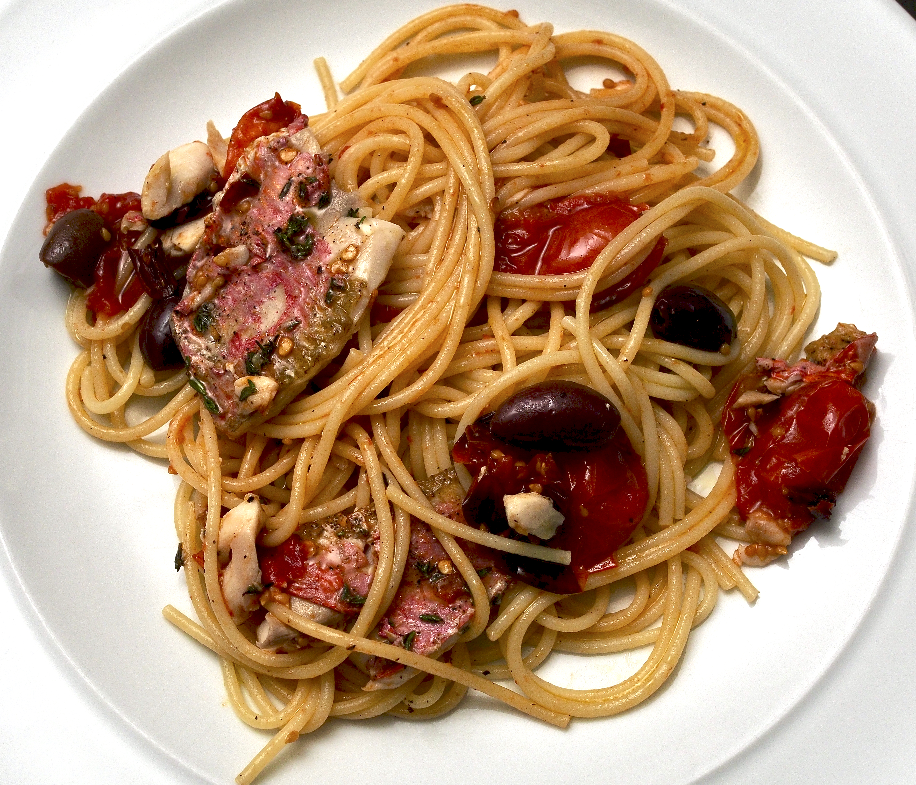 Spaghetti with Roasted Red Mullet