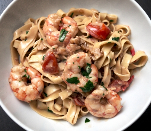 Tagliatelle with Prawns and a Creamy Brandy Sauce