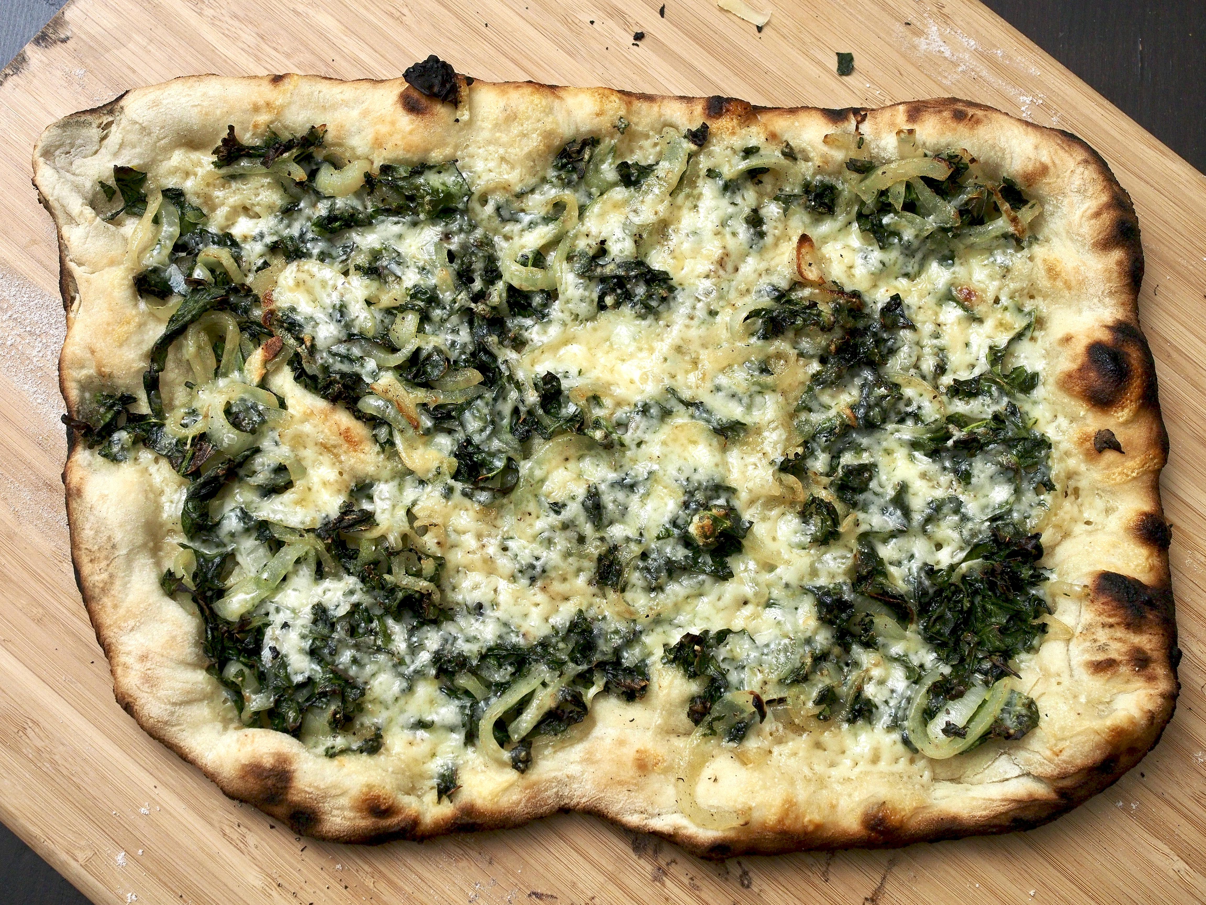 Kale & onion pizza