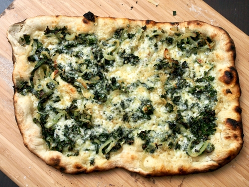 Kale & onion pizza