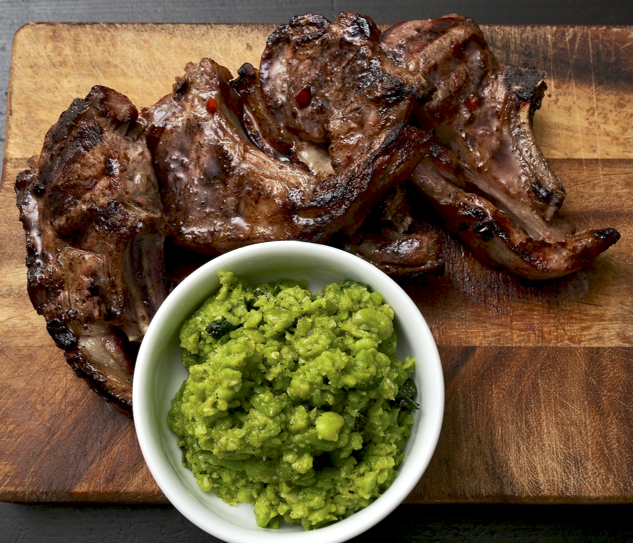 Lamb Chops with Minty Broad Beans