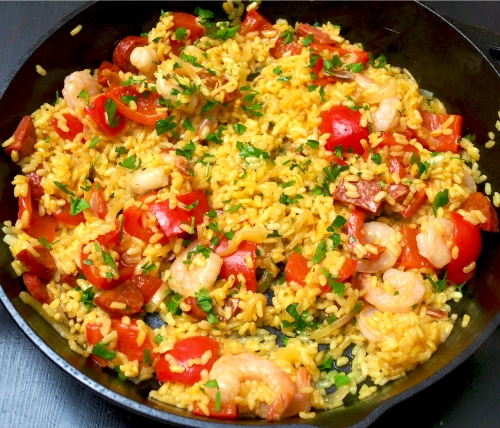 Spanish Rice with Prawns & Chorizo