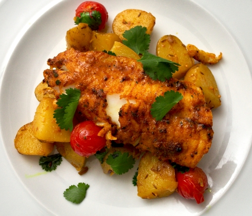 Spiced Haddock with Bombay Potatoes