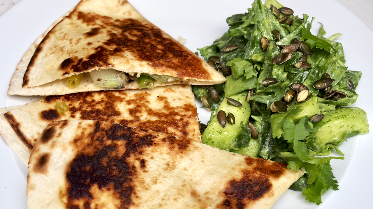 Spring Onion Quesadillas with Guacamole Salad
