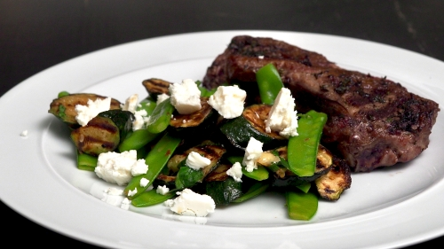 BBQ Lamb with Courgettes, Mangetout & Feta Salad