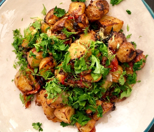 Spicy Roasted New Potatoes with Lemon & Herbs
