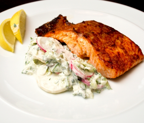 Salmon Tikka with Radish Raita