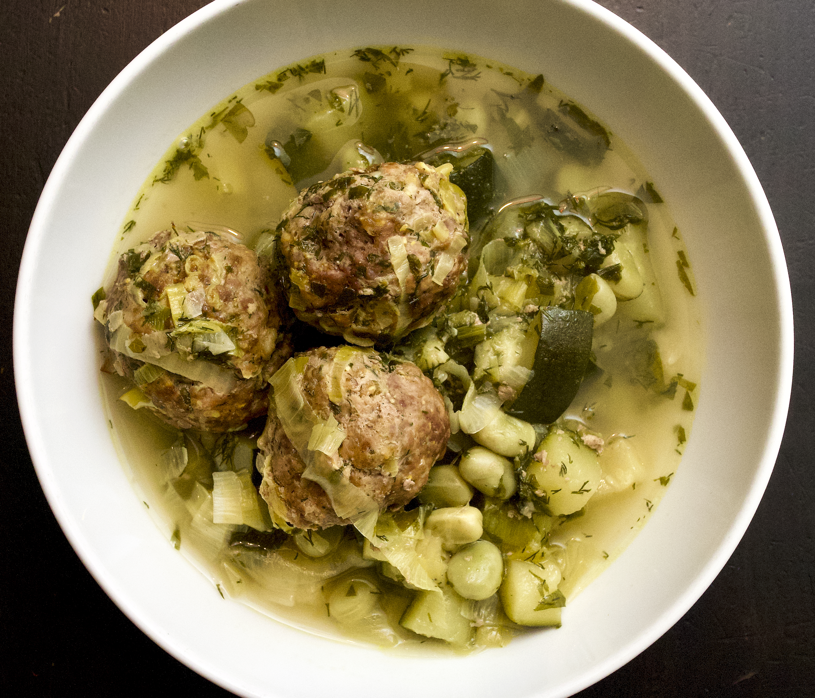 Spring Lamb Meatballs with Broad Beans & Courgettes
