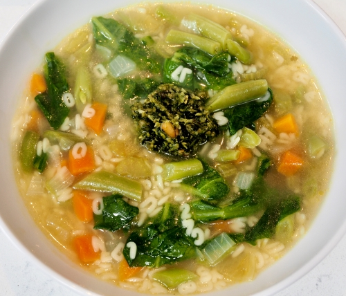 Green bean minestrone with fresh pesto
