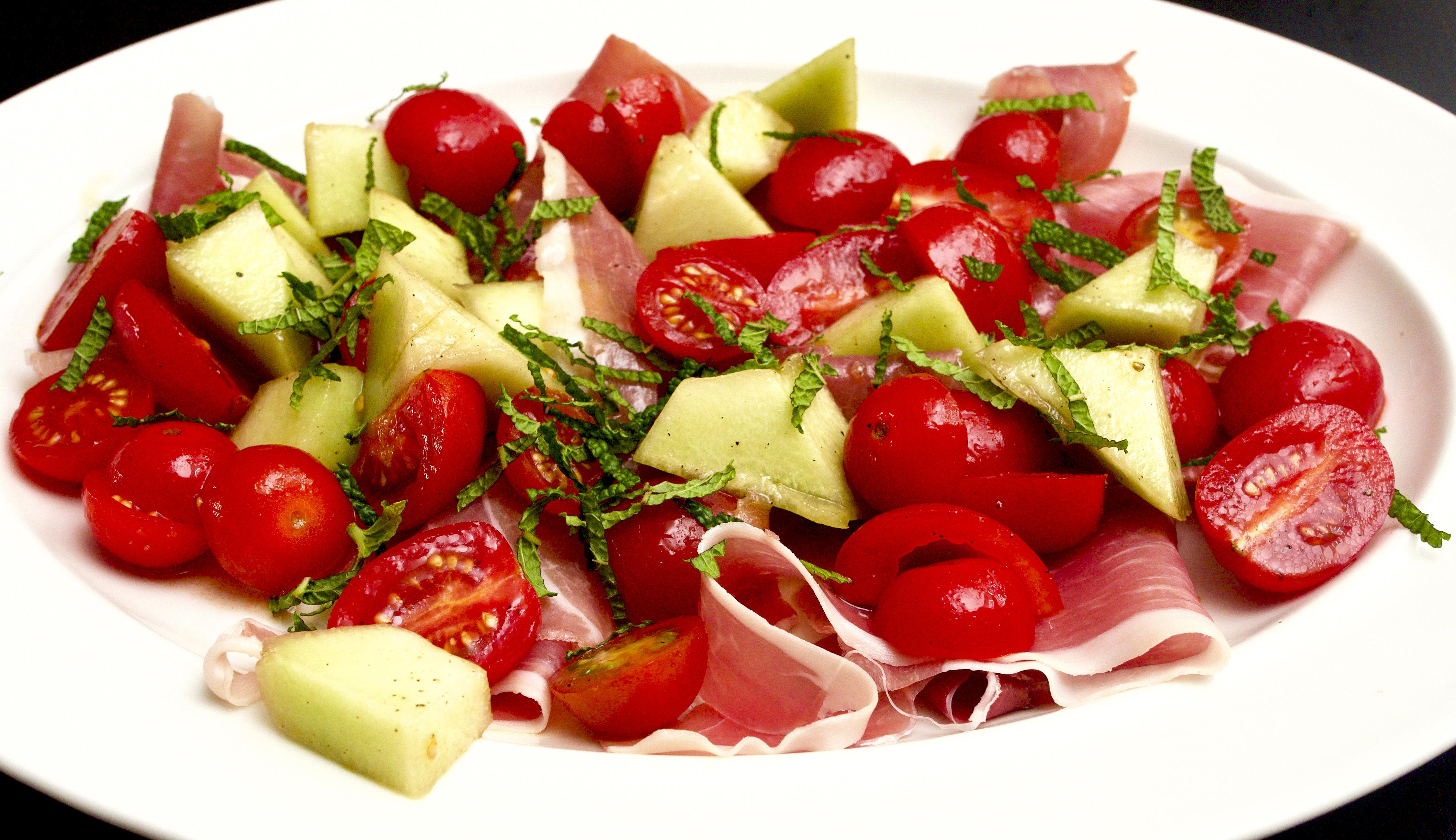 Melon, Tomato, Prosciutto & mint Salad