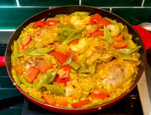 Paella with Runner Beans, Chicken & Prawns