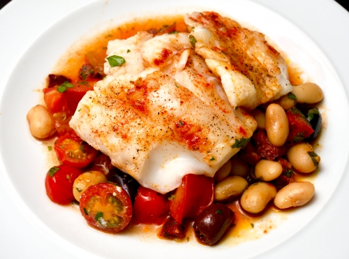 Baked Cod with Tomatoes, Chorizo & Butterbeans
